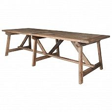 This reclaimed elm dining table with trestle legs has a distinctive rustic, country-farmhouse appeal. Trestle Legs, Trestle Table, Dining Bench, Dining Tables, Dining Room, Country Farmhouse, Country Kitchen, Trade Secret, Cool Diy