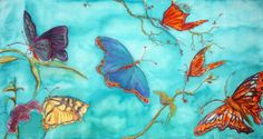 ORIGINAL COLORFUL BUTTERFLY painting dye on by VIRGINIASILKART