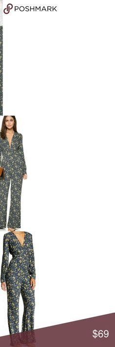 NWT Free People Jumpsuit- Size 2 Free People $168 Some Like it Hot Jumpsuit MIDNIGHT COMBO Sz 2 NWT Navy Floral  long sleeve v neck with hooks button hole back closure fitted waist navy blue with sunflower pattern zipper side under the armpit brand new with tags Free People Pants Jumpsuits & Rompers