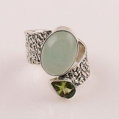 Aqua Chalcedony & Peridot Sterling Silver Adjustable Ring – Keja Designs Jewelry