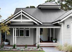 Grey Exterior Paint view popular house exterior paint colour schemes dulux home color paint - Colors For Homes House Exterior Color Schemes, White Exterior Houses, Exterior Paint Colors For House, Grey Exterior, Modern Exterior, Grey House Exteriors, Grey Houses, House Paint Colours, Dulux Exterior Paint Colours