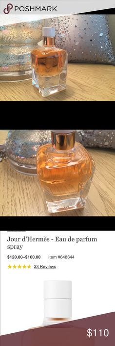 """Cartier - Jour d' Heremes Absolu Open to reasonable offers.  2.87  Cartier Jour d' Heremes Absolu. This bottle has been sprayed a few times. No box. On bottom of bottle in very fine print marked tester.                                """"I wanted to express the essence of femininity with flowers and nothing but flowers."""" — Jean-Claude Ellena.  Femininity in perfume form!   The eau de parfum is luminous and sensuous, with sweet peas and gardenia. Cartier Makeup"""