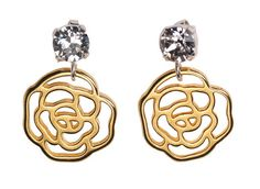 Silver & Golden Rose Earrings by Dutchini on Etsy