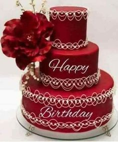 ~ Red Wedding Cake with white piping detail Happy Birthday Status, Happy Birthday Wishes Photos, Happy Birthday Cake Images, Happy Birthday Wallpaper, Birthday Wishes Messages, Happy Birthday Celebration, Birthday Cheers, Happy Birthday Flower, Happy Birthday Candles