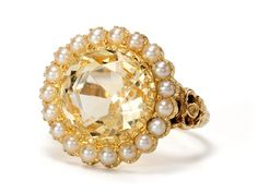 Victorian citrine pearl cluster ring, c. 1880.