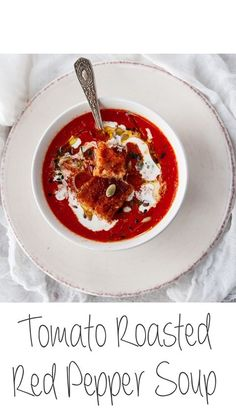 One of the most popular soups out there is the Tomato Red Pepper Soup. Full of flavour, tasty and easy to pair with a grilled cheese sandwich, this is definitely the ultimate comfort food. Check it out! Tomato Red Pepper Soup, Roasted Red Pepper Soup, Roasted Red Peppers, Bakewell, Tomato Sauce, Soups, Sandwiches, Tasty, Cheese