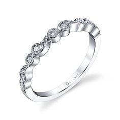 Bezel White Gold Diamond Wedding Band | Diamond Wedding Band