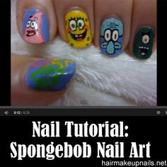 spongebob nails tutorial by nded on Pinterest