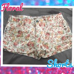 Floral Print Shorts These are from the brand mossimo. They are warm toned colors and they are super cute in person. I've worn these a few times one summer I had two pair one at both my places at the time which shows how much I loved them lol. Mossimo Supply Co. Shorts Jean Shorts