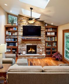Narrow Family Room With Tv Over Fireplace For The Home Pinterest