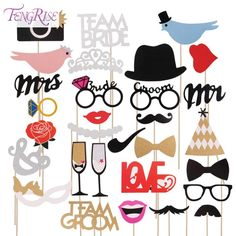 FENGRISE Fun Wedding Decoration 31pcs Photo Booth Prop DIY Mr Mrs Mustache Mask Party Accessories Bridal