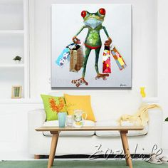 Oil painting On Canvas Wall Pictures Paintings For Living Room Wall Art Canvas Pop art Frog modern abstract hand painted paint 3