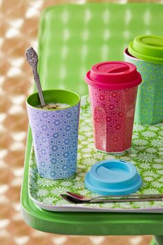 Rice Dk Tall Melamine Cup in Green and Turquoise with a Marrakesh print, add a colourful silicone lid perfect for your coffee, or great for a summer smoothie or juice
