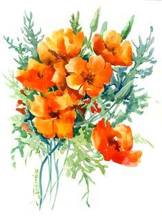California Poppies, Original watercolor painting, orange flowers, wild floral art, orange green, Peinture originale d'aquarelle by ORIGINALONLY on Etsy