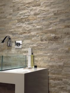 Brick Soft 40 Sand is a natural marble brick wall tile that interlocks together to form natural looking strips by Azteca. Stone imitation cladding tile (interior). Use as a kitchen splash back or as a feature wall tile in a bathroom.