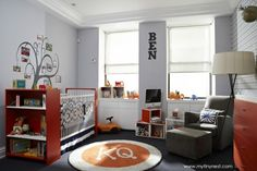 Design Reveal: Modern Gray and Orange Nursery