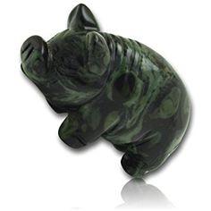 "Custom & Unique {1.25"" x 2.5"" Inch} 1 Single Small, Home & Garden ""Standing"" Statue Figurine Decorations Made of Grade A Genuine Stone w/ Kambaba Jasper Pig Animal Totem Gemstone Style {Green & Black}"