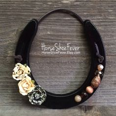 Horseshoe Decor Equestrian Decor Cowgirl. Beaded Horseshoe, Horseshoe Decor, Handmade, Horses, Equine, Pony, Rustic Home Decor, Etsy Shop - HorseShoeFever. Western Home Decor. Country Home Decor, Cabin, Ranch, Lodge, cowboy, cowgirl, gifts, southern, interior design, accents.