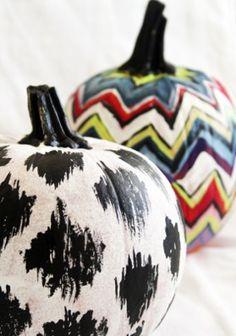 painted ikat chevron pumpkins photo by alisaburke
