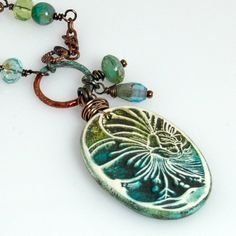 Water Color Hibiscus Handcrafted Polymer Art Bead by enlalumiere