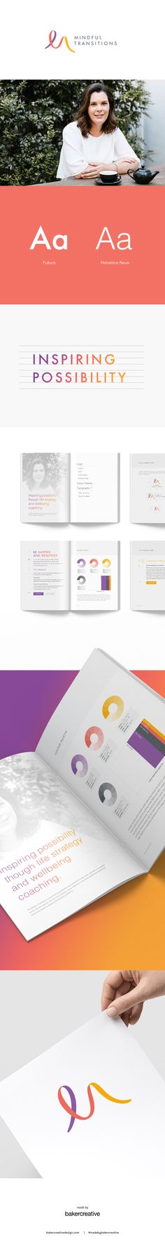 Visual identity design for small business Mindful Transitions, who use positive psychology principles to help people navigate major life transitions like motherhood, career changes and small business management. We used bold, warm and vibrant colours, paired with lots of crisp white and cool grey to maintain a sleek and modern look for the logo and supporting brand collateral. #branddesign #branding #visualidentity #logodesign