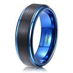 8mm Men's Tungsten Ring Black Brushed Surface Dark Blue Step Edge Wedding Band