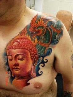 Buddha with dragon inked by Yang Zhuo.