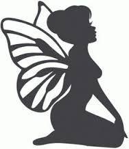 Silhouette Design Store: Sitting Fairy - Welcome My Home Silhouette Design, Fairy Silhouette, Silhouette Portrait, Silhouette Images, Kirigami, Fairy Templates, Foto 3d, Fairy Lanterns, Fairy Jars