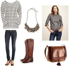 Plaid shirt outfit 2: Striped tee, knee-high brown boots, statement necklace