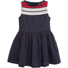 Tommy Hilfiger Navy Blue Cotton Dress with Red & White Ribbons at Childrensalon.com
