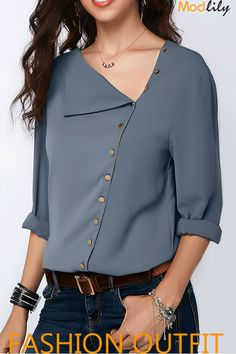 Dusty Blue Button Detail Roll Sleeve Blouse On Sale At Modlily. Fashion And Cheap! Free Shipping!  Necessary sheet is tasted! Shop the style!