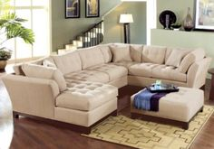 Cindy Crawford Home   Metropolis Peat Left   4 Pc Sectional Living Room
