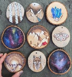 Hand painted + wood burned collection - mountains, crystals, woodland creatures and nebulae art diy art easy art ideas art painted art projects Wood Burning Crafts, Wood Burning Art, Painted Rocks, Hand Painted, Painted Wood, Woodland Creatures, Wood Slices, Pyrography, Wood Art