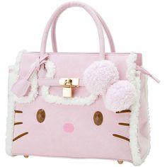 ハローキティ ムートン風フェイスバッグL ピンク ❤ liked on Polyvore featuring bags, handbags, purses, pink bag, pink purse and pink handbags