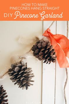 DIY pinecone garland tutorial for fall and holiday decor decor diy pinecones Pinecone Garland Tutorial - Ella Claire Diy Crafts For Home Decor, Easy Diy Crafts, Fall Crafts, Holiday Crafts, Pinecone Garland, Diy Garland, Pinecone Decor, Garlands, Christmas Banners