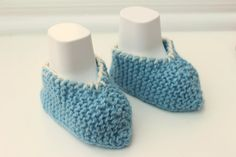 Blue Baby Slippers New Baby Gift Blue Baby Booties by Pinknitting
