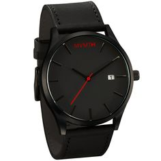 Mvmt Watches Black Face With Black Leather Strap Men'S Watch Original For Man Mens Sport Watches, Mens Watches Leather, Leather Men, Watches For Men, Black Watches, Casual Watches, Simple Watches, Cheap Watches, Silver Watches