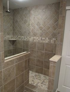 7 Qualified Tricks: Shower Remodel With Window Walk In master shower remodel before and after.Bath To Shower Remodel shower remodeling ideas bathroom updates.Walk In Shower Remodeling No Door. Master Bathroom Shower, Modern Bathroom, Small Bathroom, Bathroom Ideas, Bathroom Remodeling, Bath Ideas, Walk In Bathroom Showers, Tile Walk In Shower, Tiled Showers