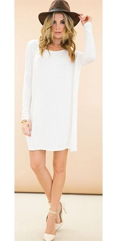 White Long Sleeve Scoop Neck Piko Bamboo Oversized Tunic Tee Shirt Mini Dress