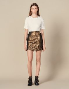 Wrapover Effect Brocade Skirt Gold - Copy of VP-FR-FSelection-Jupes&Shorts Cropped Blazer, Tailored Jacket, Men's Collection, Covered Buttons, Mannequin, Smooth Leather, Short Skirts, Black Friday, Sequin Skirt