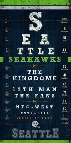 Hey, I found this really awesome Etsy listing at https://www.etsy.com/listing/169968403/seattle-seahawks-eye-chart-the-12th-man