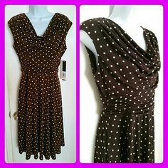 NWT! Polka-dot Dress New! With tags!! In perfect condition! Cowl Neck style. Has ruched detailing on the hip part which accentuates curves. Height: 40 inches.. Ruched part width: 13 inches. Stretchable material. Siena Studio Dresses Midi