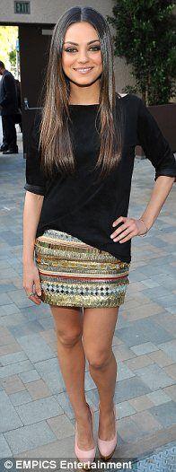 Mila Kunis in Balmain embellished miniskirt at MTV Movie Awards 2011
