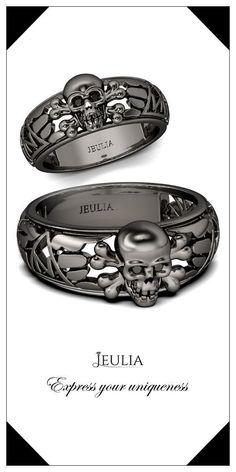 Jeulia Hollow Round Cut Created Black Diamond Skull Ring