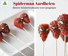 www.leukverjaardagsfeestje.nl Spiderman Aardbeien Stoere #traktatie voor #jongetjes.