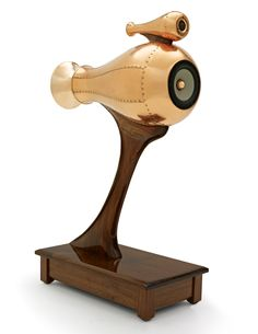 Speaker design and audio by David Crewe; mechanical engineer and master wood craftsman with strong creative genes. Hand-spun copper over poplar wood speaker on walnut base.