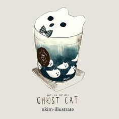 Some fun limited time Halloween themed drinks only at the Suit & Tie Cat Cafe! Doodles I did for Halloween! Chat Kawaii, Kawaii Cat, Cute Kawaii Drawings, Cute Animal Drawings, Cute Food Art, Cute Art, Cat Anime, Art Mignon, Ghost Cat
