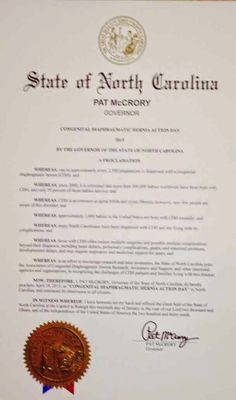 April is CDH Awareness Month - April 19th is Congenital Diaphragmatic Hernia Action Day: North Carolina Proclaims April 19th, 2015 as Conge...