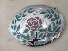 Silver Plated Ladies Belt Buckle with Turquoise by myabbiesattic, $39.99