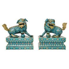 19th Century Chinese Cloisonné Fu Dogs | From a unique collection of antique and modern metalwork at https://www.1stdibs.com/furniture/asian-art-furniture/metalwork/
